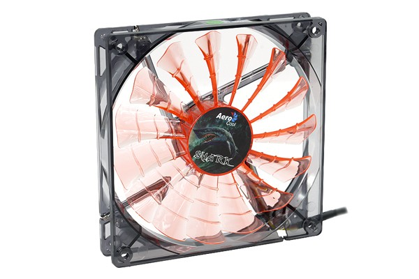 Aerocool Shark Fan Black Evil Edition - Transparent Noir - Orange LED (140x140x25mm)