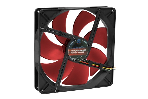 Phobya G-Silent 18 700rpm LED Rouge (180x180x32mm)